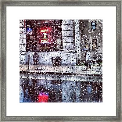 Neon And Rain Framed Print by Toni Martsoukos