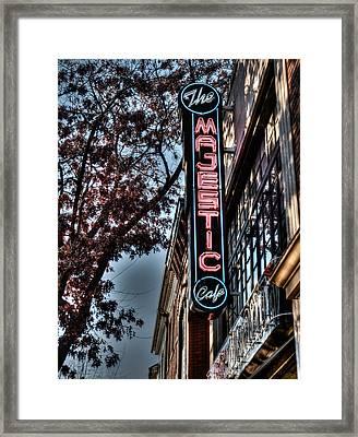 Neon At Dusk Framed Print