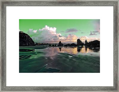 Framed Print featuring the photograph Neon Beach by Adria Trail
