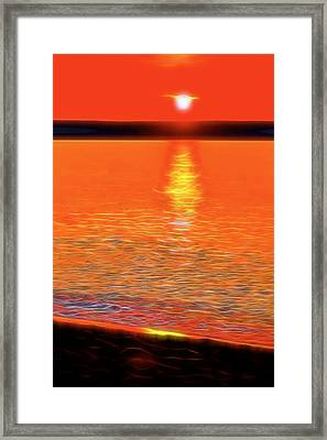 Neon Beach Sunset Framed Print by Dan Sproul