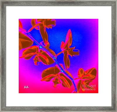 Neon Blooms Framed Print