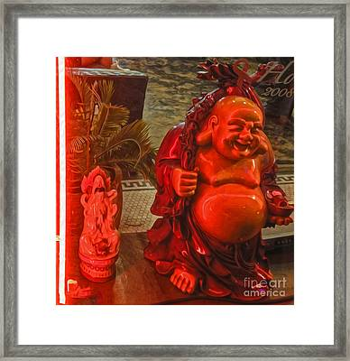 Neon Buddha Framed Print by Gregory Dyer