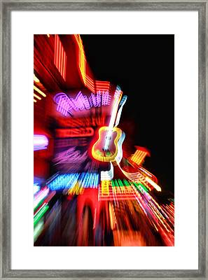 Neon Burst In Downtown Nashville Framed Print by Dan Sproul