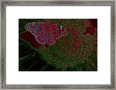 Neon Butterfly Framed Print
