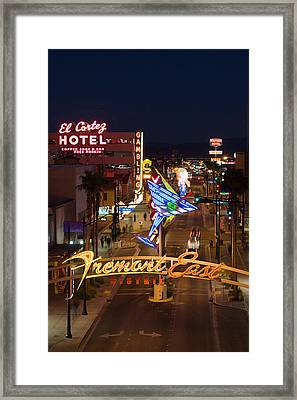 Neon Casino Signs Lit Up At Dusk, El Framed Print by Panoramic Images