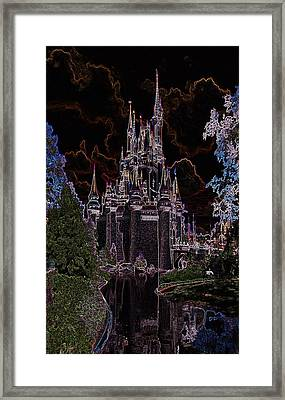 Neon Castle Framed Print