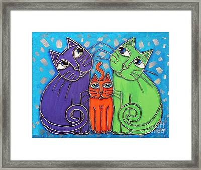 Neon Cat Trio #1 Framed Print