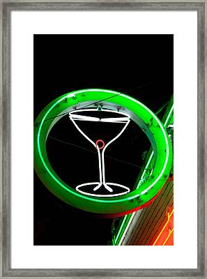 Neon Cocktail Glass Framed Print by Matthew Bamberg