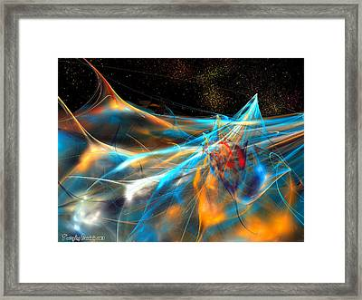 Neon Dolphins In The Atlantic Night. 2013 80/60 Cm.  Framed Print by Tautvydas Davainis
