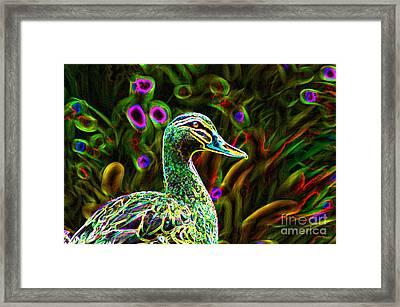 Neon Duck Framed Print by Naomi Burgess