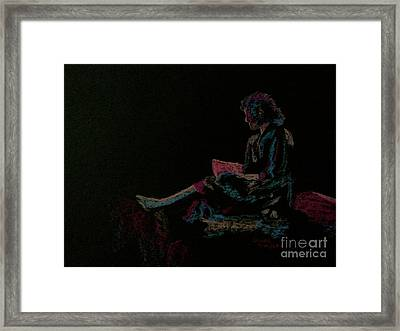 Neon Girl With Book Framed Print by Diane Phelps