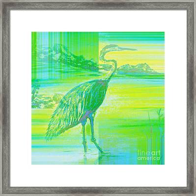 Neon Great Blue Heron Framed Print