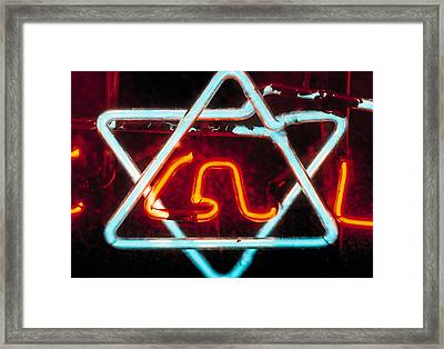 Neon Jewish Star Symbol Framed Print