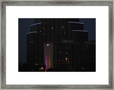 Framed Print featuring the photograph Neon Lights Austin by Ellen O'Reilly