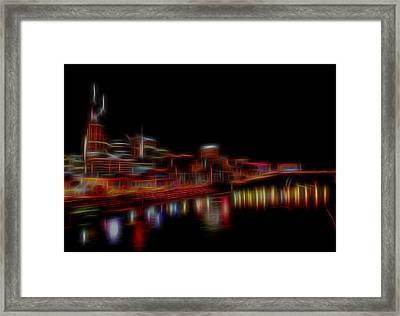 Neon Nashville Skyline At Night Framed Print