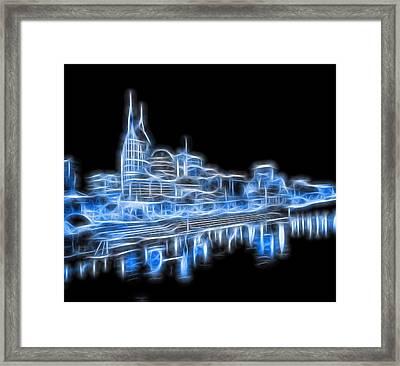 Neon Nashville Skyline Framed Print by Dan Sproul