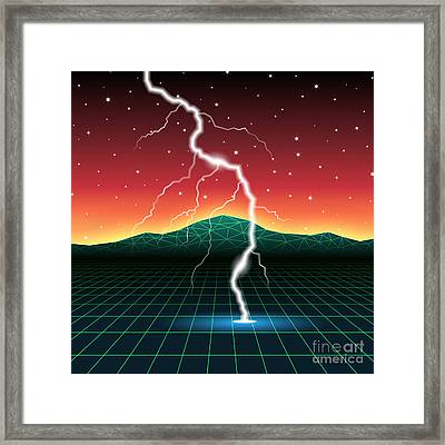 Neon New Retro Wave Landscape With Framed Print