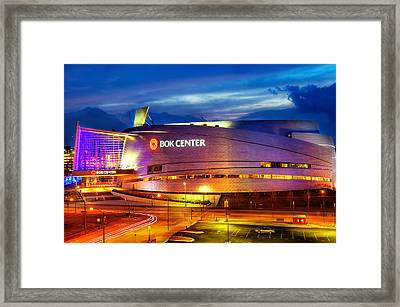Neon Night - Bok Center - Tulsa Oklahoma Framed Print by Gregory Ballos