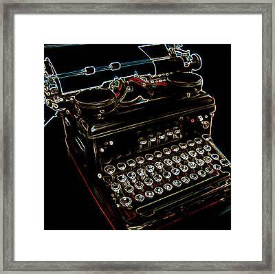Neon Old Typewriter Framed Print by Ernie Echols