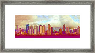 Neon Panorama 1 Framed Print by Michael Guirguis