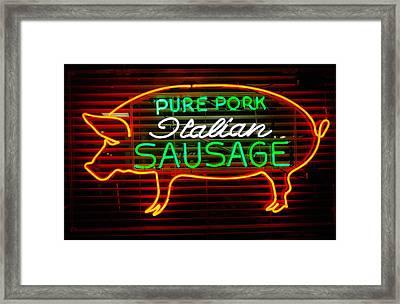 Neon Pig Framed Print