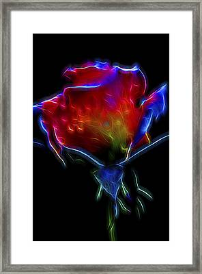 Framed Print featuring the digital art Neon Rose by William Horden