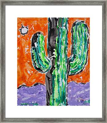 Neon Saguaro Cactus Limited Edition Poster Christmas Card Framed Print by Robert R Splashy Art Abstract Paintings