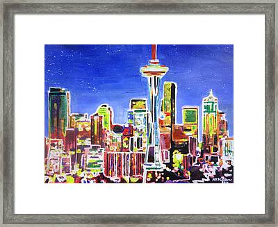 Neon Shimmering Skyline Of Seattle With Space Needle With Stars At Night  Framed Print