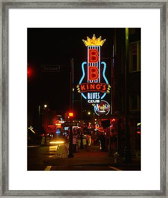 Neon Sign Lit Up At Night, B. B. Kings Framed Print by Panoramic Images
