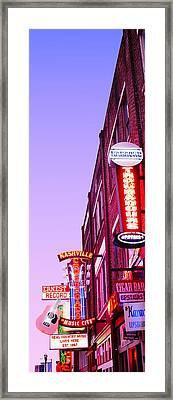 Neon Signs At Dusk, Nashville Framed Print by Panoramic Images