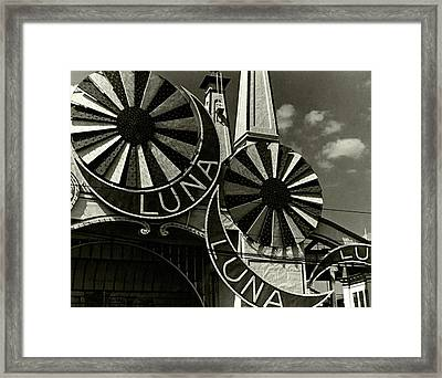 Neon Signs Of Luna Park Framed Print