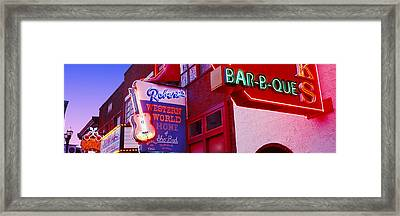 Neon Signs On Building, Nashville Framed Print by Panoramic Images