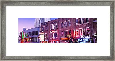 Neon Signs On Buildings, Nashville Framed Print by Panoramic Images