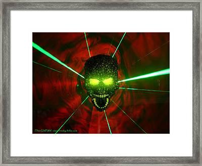 Neon Skull Framed Print