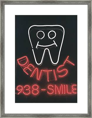 Neon Smile Framed Print