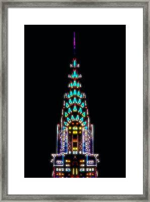 Neon Spires Framed Print