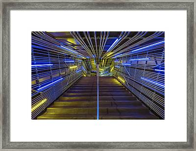 Neon Steps Framed Print by Akos Kozari