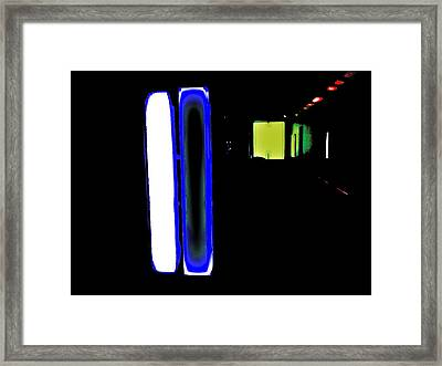 Neon Subway Tunnel Framed Print