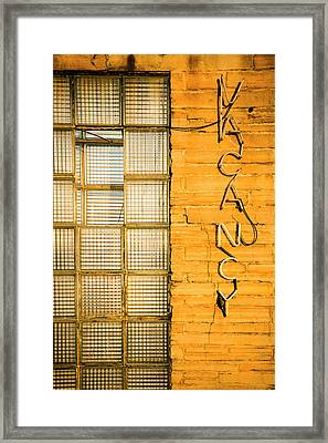 Neon Vacancy Sign, Pacific, Missouri Framed Print by Julien Mcroberts