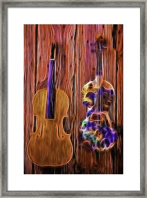 Neon Violins Framed Print by Garry Gay
