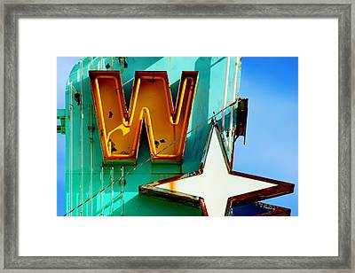 Framed Print featuring the photograph Neon W - The West Theater by Daniel Woodrum