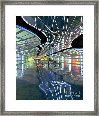 Neon Walkway At Ohare Framed Print by Martin Konopacki