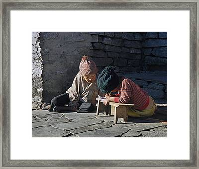 Nepalese Boys Drawing  Framed Print by Richard Berry