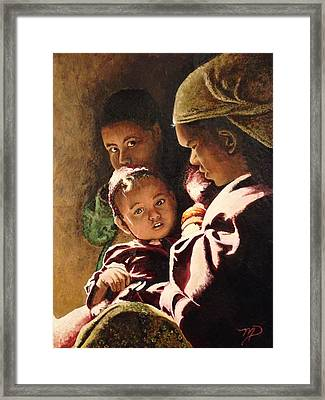 Nepali Mother And Children Framed Print by Meghan Pasquariello