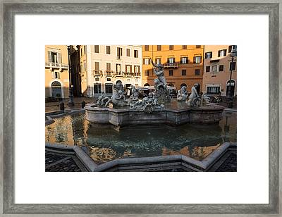 Framed Print featuring the photograph Neptune Fountain Rome Italy by Georgia Mizuleva