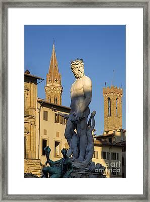 Neptune Statue - Florence Framed Print by Brian Jannsen