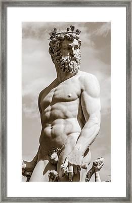 Neptune Statue In Florence Framed Print