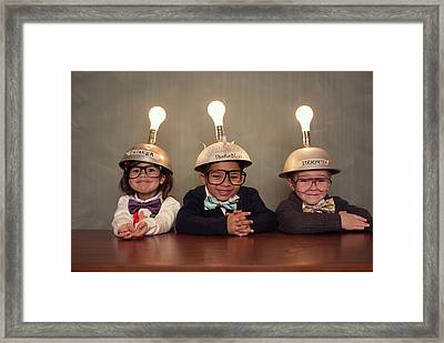 Nerd Children Wearing Lighted Mind Framed Print by Richvintage