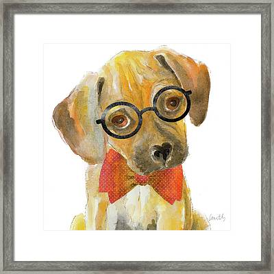 Nerd Pup Square Framed Print