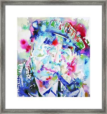 Pablo Neruda - Watercolor Portrait.2 Framed Print by Fabrizio Cassetta